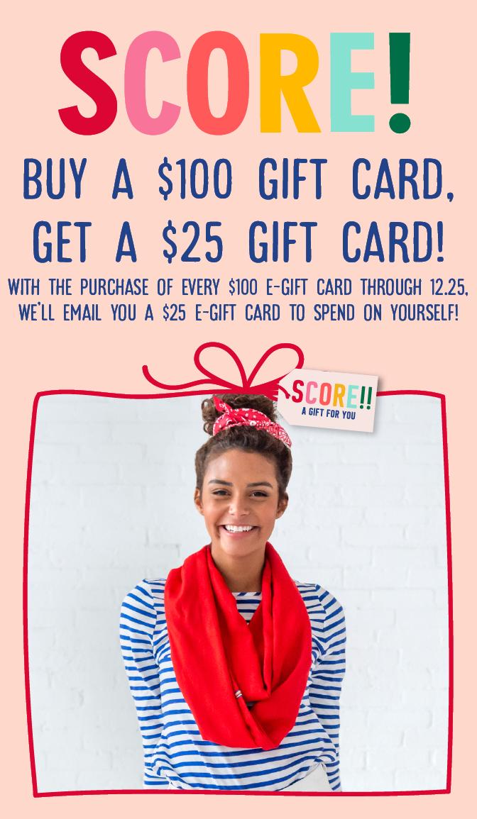 Gift card 100 dollars get 25 dollars free