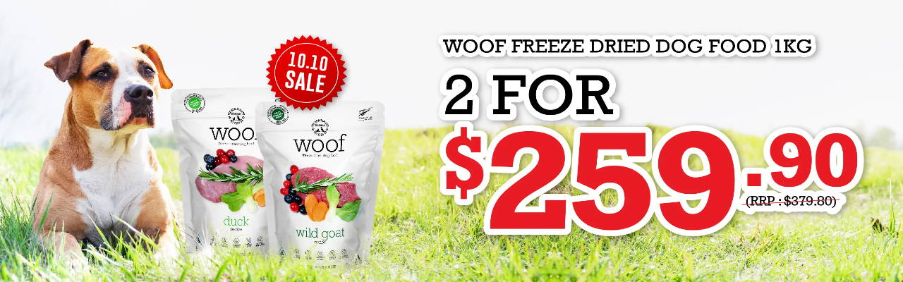 Woof freeze-dried raw dog food   promotion online pet shop singapore pawpy kisses.