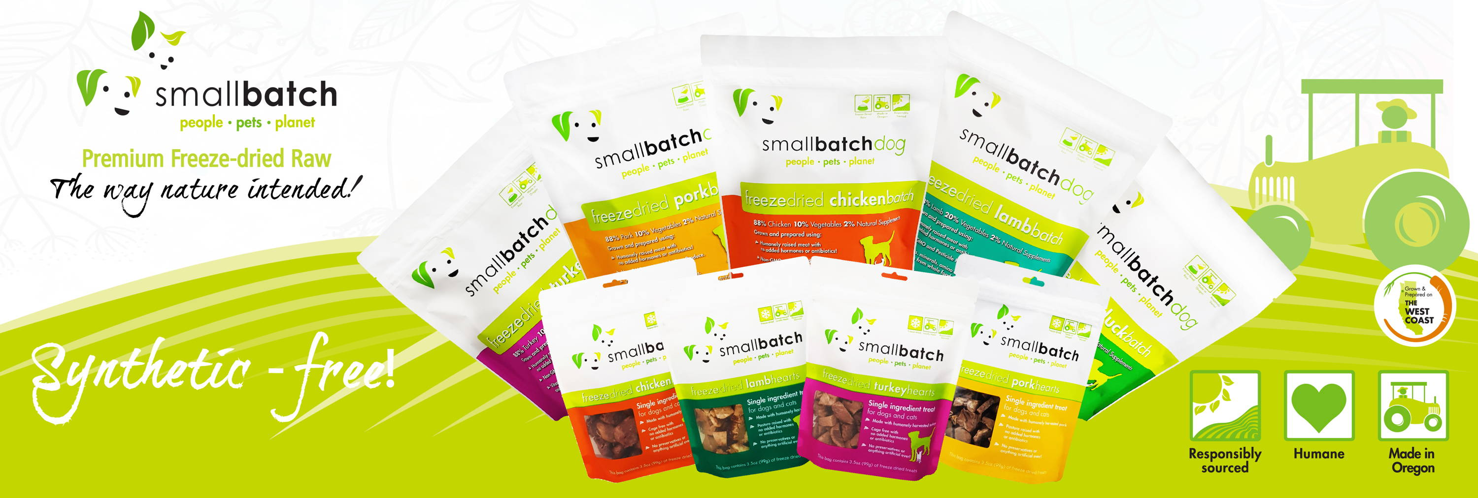SmallBatch Pets freeze-dried raw dog food synthetic free banner