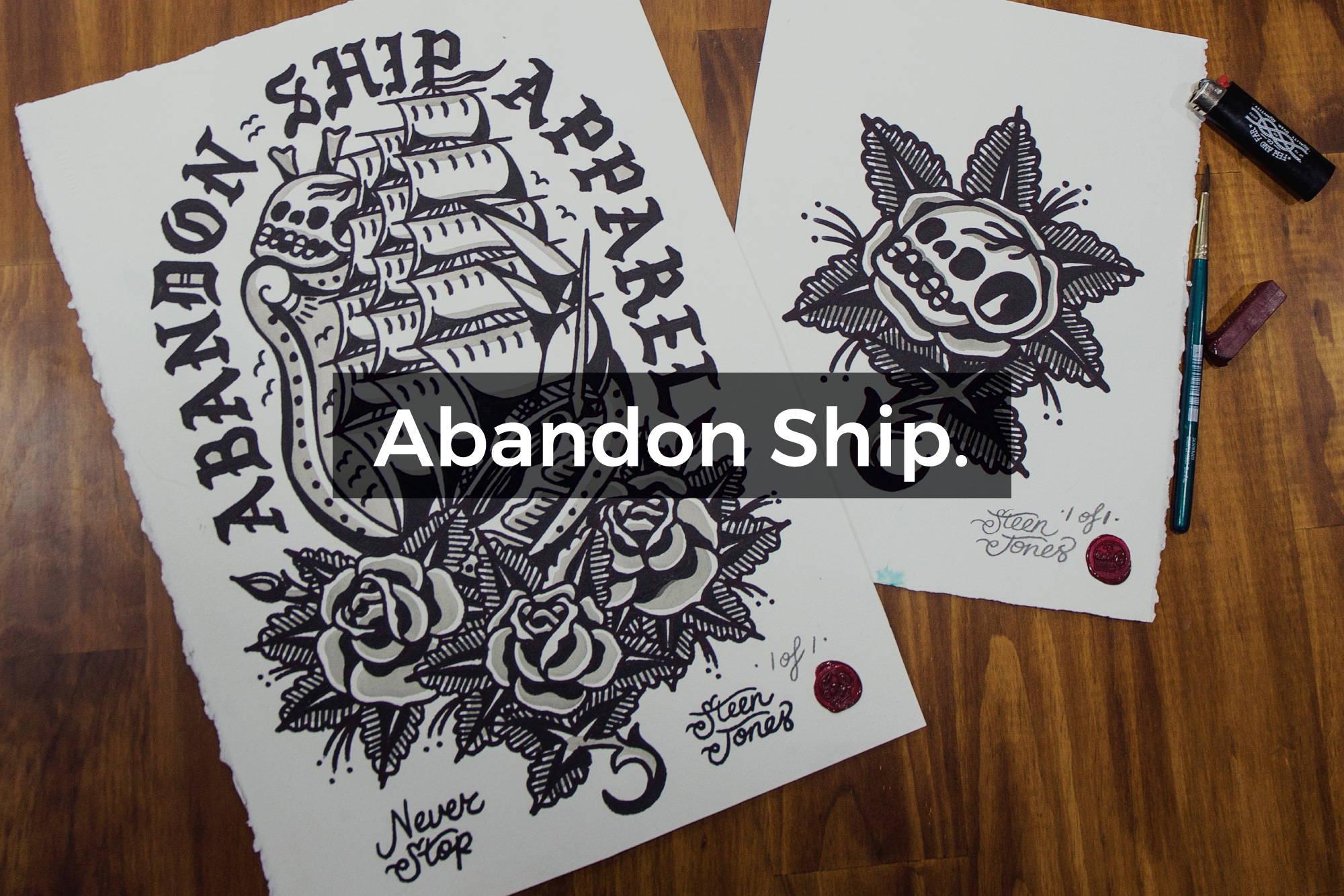 Watercolour for Abandon Ship Apparel by Steen Jones