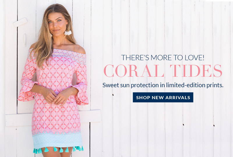 Woman wearing Coral Tides Off The Shoulder Dress. Sweet sun protection in limited-edition prints. Shop new arrivals.