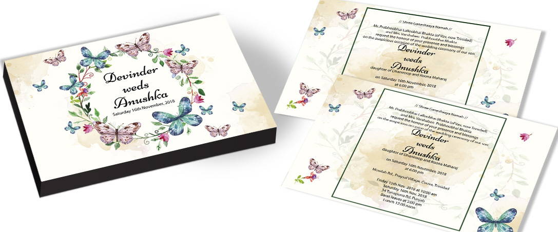 Butterfly and Flowers Invitation for Marriage