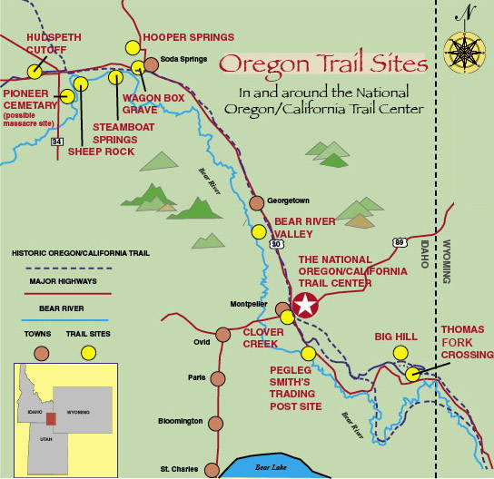 Pioneer Mountains Idaho Map.Local Trail Landmarks Located Near The Oregon California Trail Center