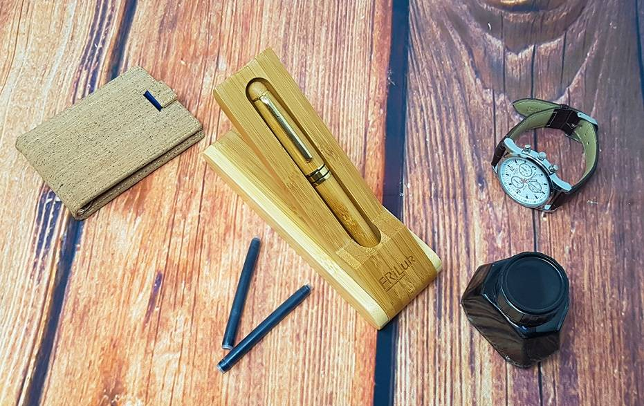 wooden fountain pen on a desk