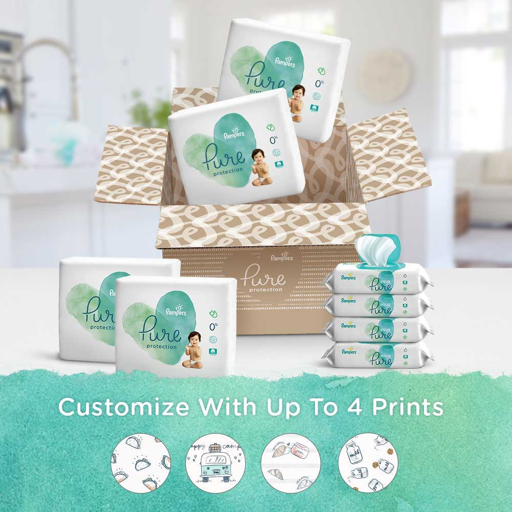 Box With Pampers Pure Protection Diapers and Aqua Pure Wipes Customize With Up To Four Pampers Pure Protection Diapers Prints
