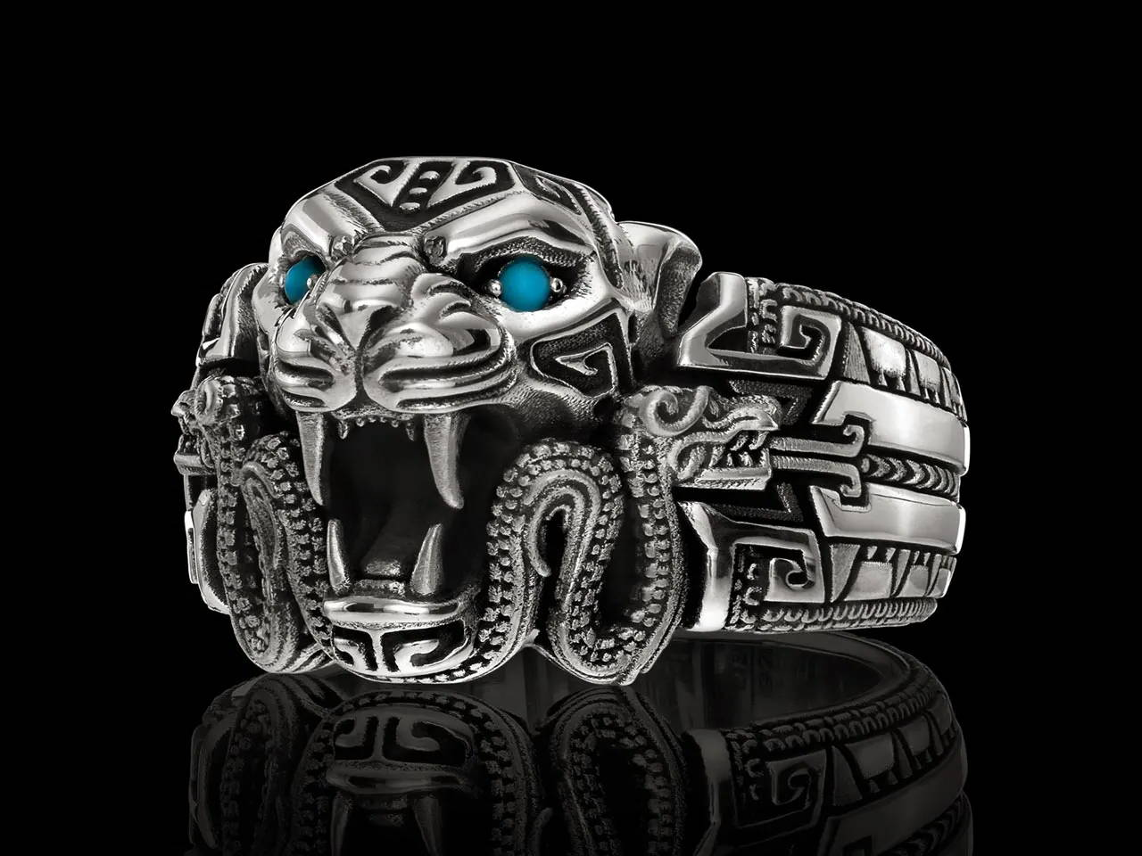 Ocelotl Band Aztec Jaguar Ring with Turquoise Eyes in Sterling Silver by NightRider Jewelry