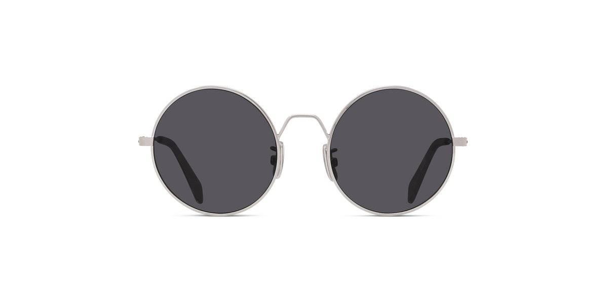 Shop the Semi-Shiny Palladium/Smoke Round Men Sunglasses.