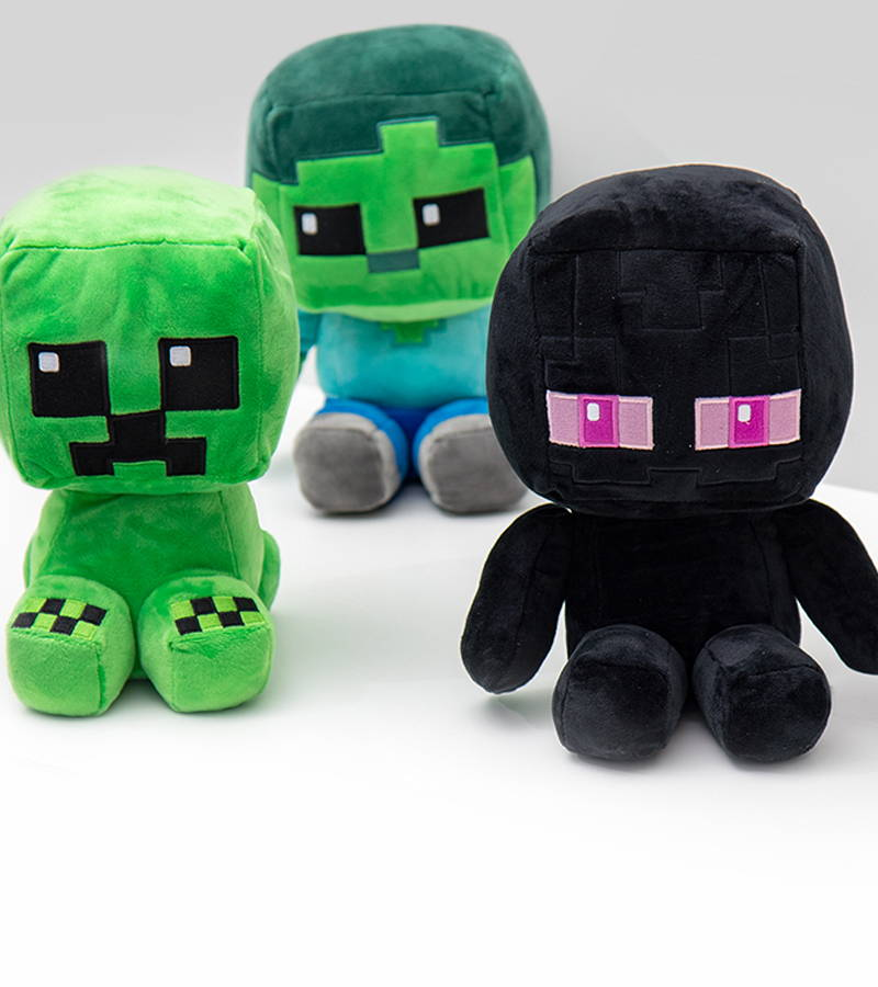 A collection of three Minecraft Crafter Plush: Creeper, Zombie and Enderman