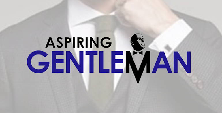 Logo for Aspiring Gentleman: a closeup of a man adjusting his collar while wearing a suit