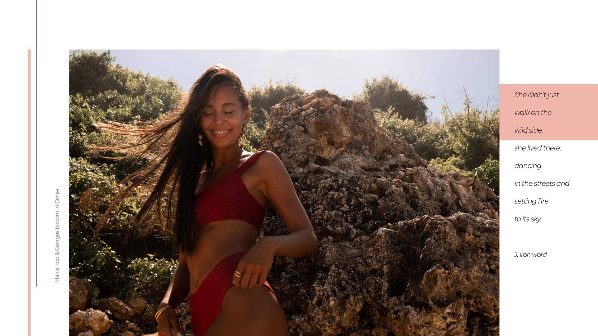 Woman smiling wearing red bikini