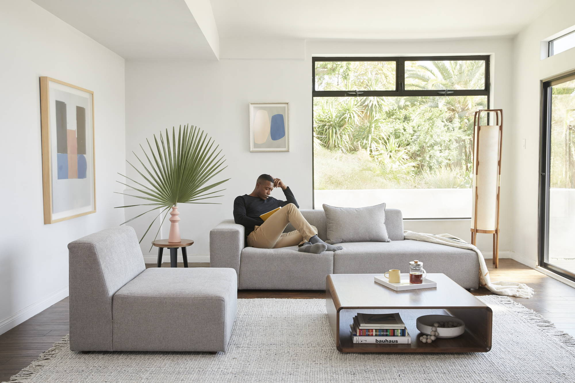 The Floyd Sectional in mineral is versatile.