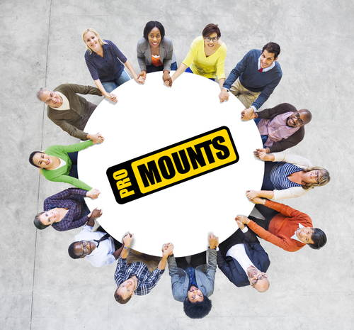 Become a Promounts Reseller - Our People Sitting around a Table with Promounts Logo