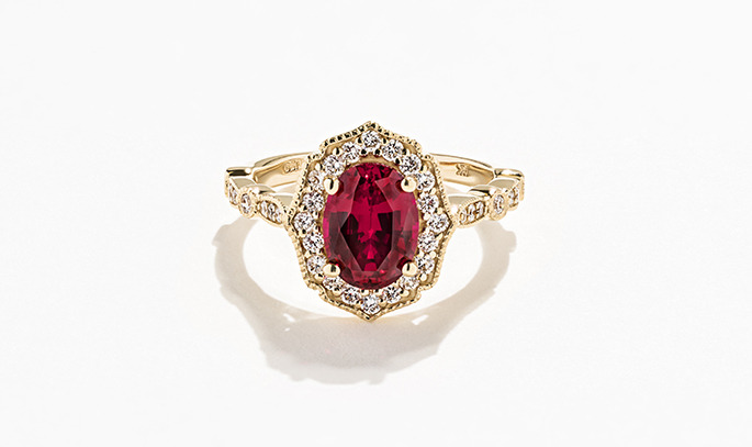Yellow Gold Vintage Style Ring with Diamond Accenting and a Lab Created Ruby center stone