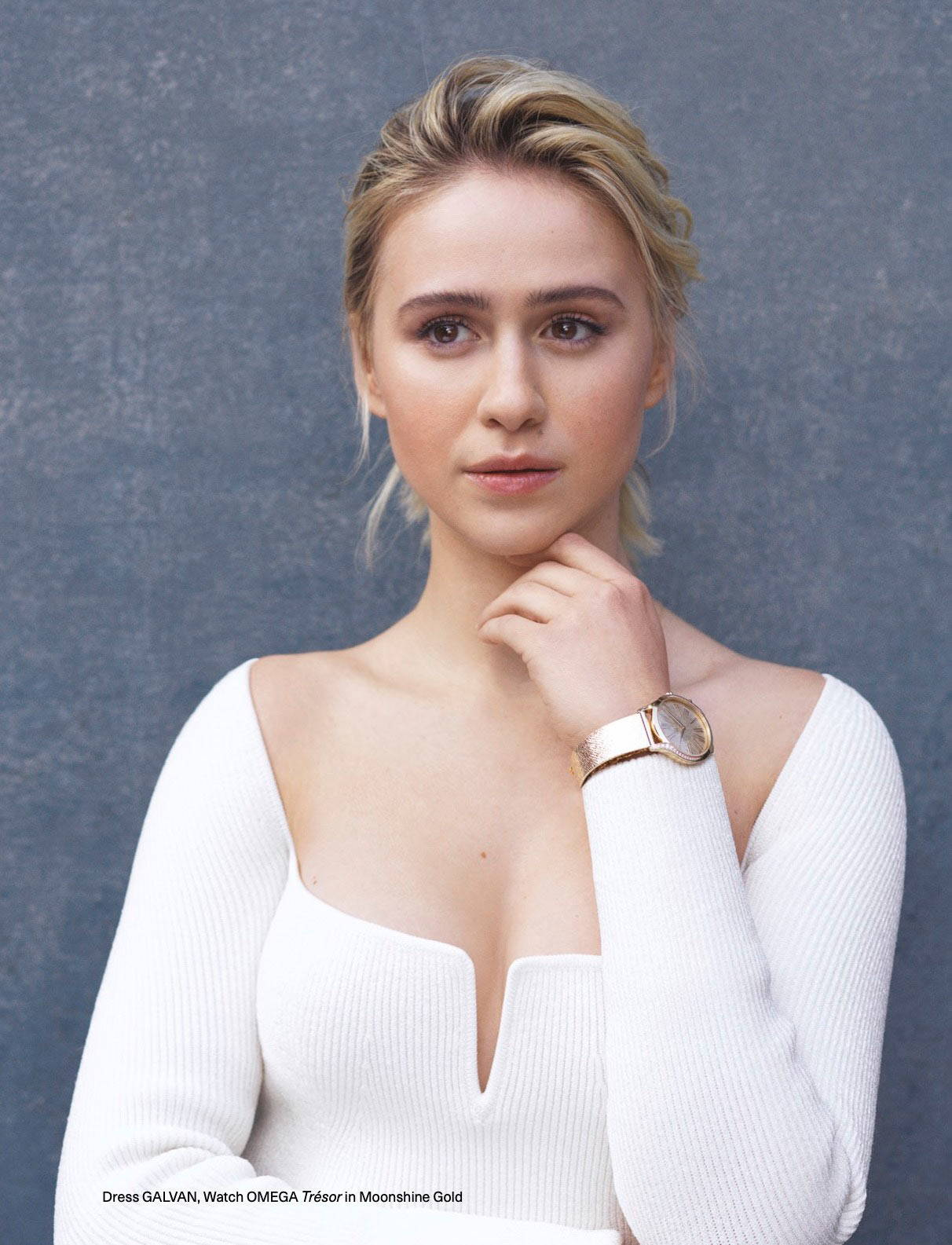 Maria Bakalova wearing Galvan London Body-Hugging Long Sleveed Knit White Dress