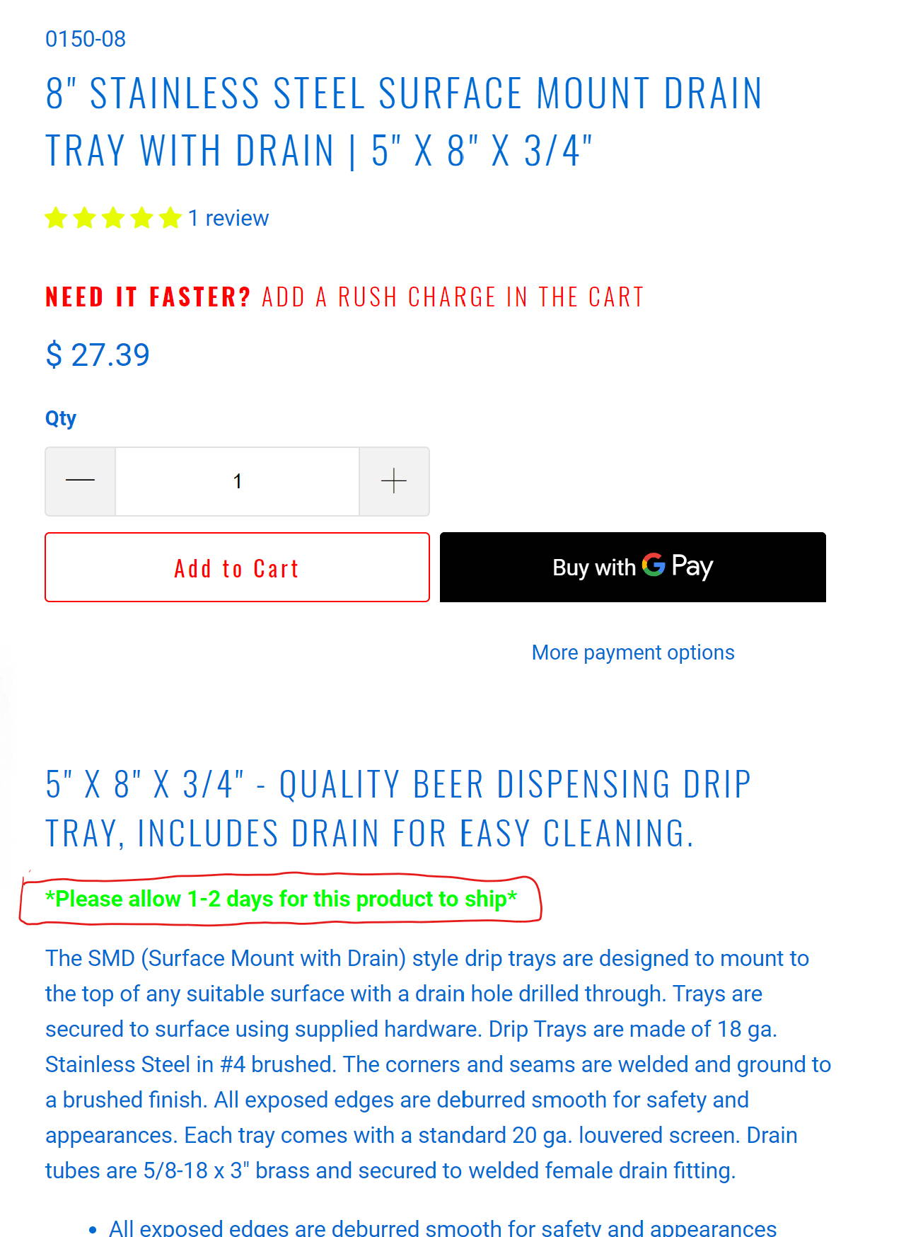 Lead times for draft beer towers and drip trays