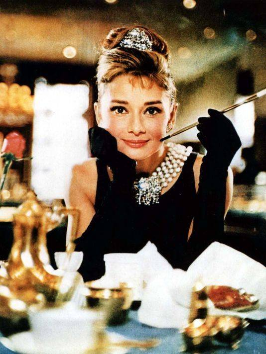 Audrey Hepburn and Diamond and Pearl Necklace
