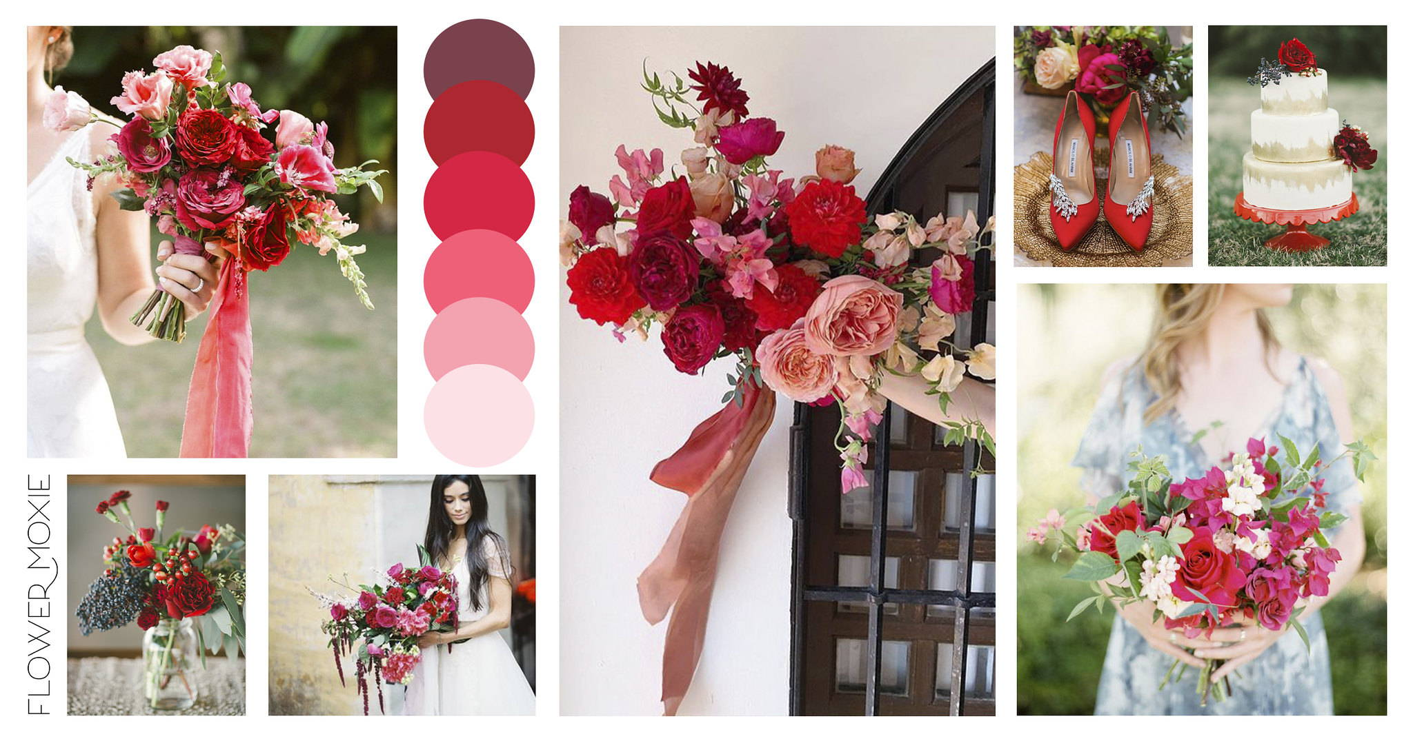 Red wedding flower packages