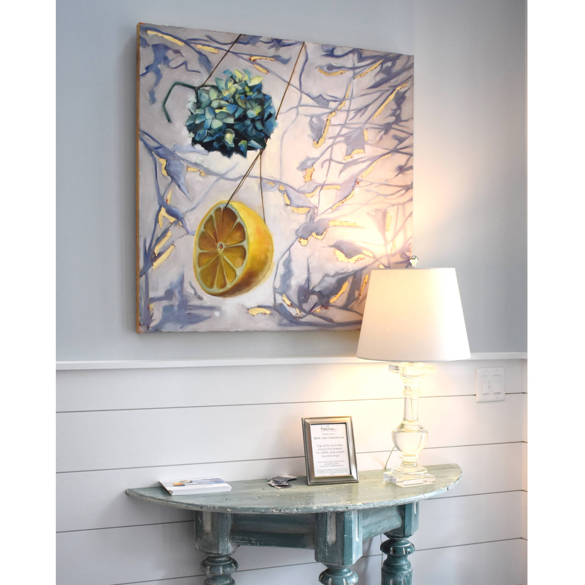 Keeper, Oil painting of lemon and hydrangea modern contemporary painting by Andie Paradis Freeman