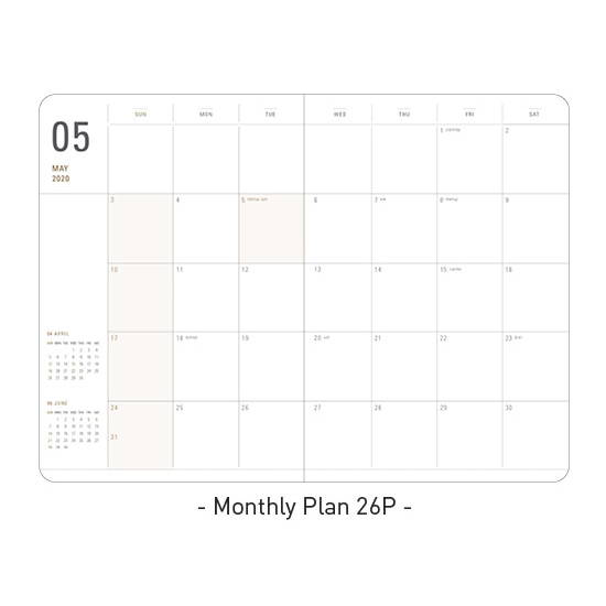 Monthly plan - Ardium 2020 Basic dated weekly diary planner