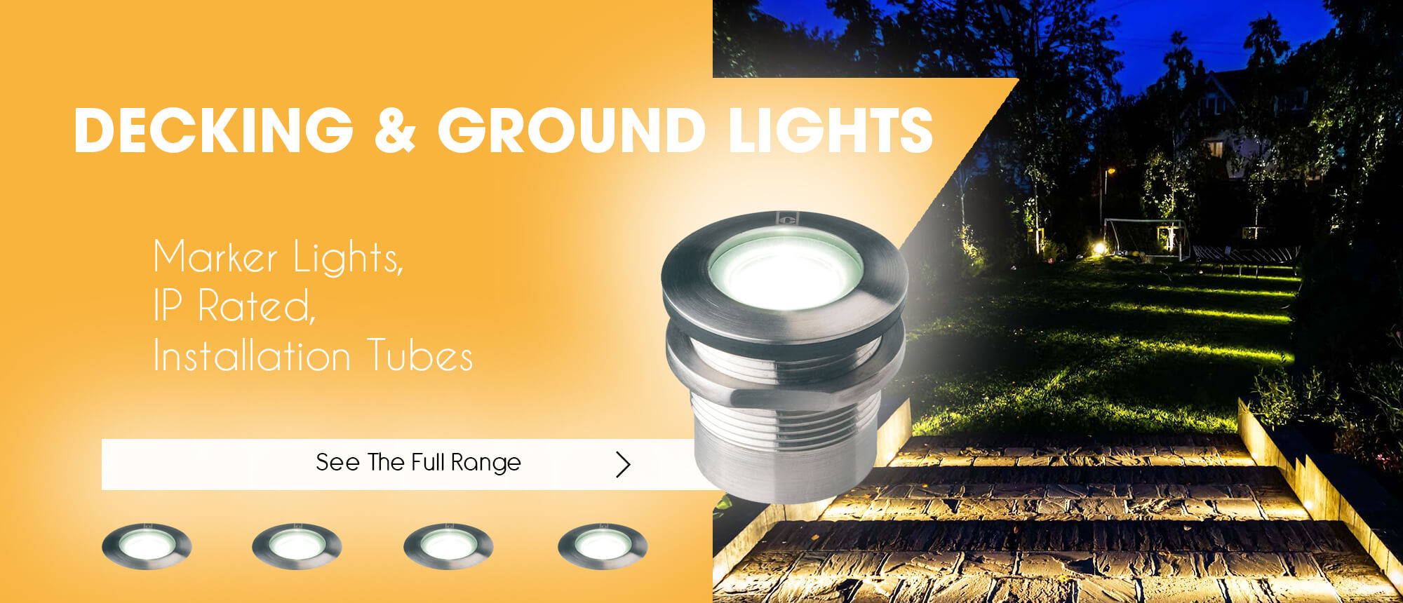 Collection of decking and ground lights at GloFix