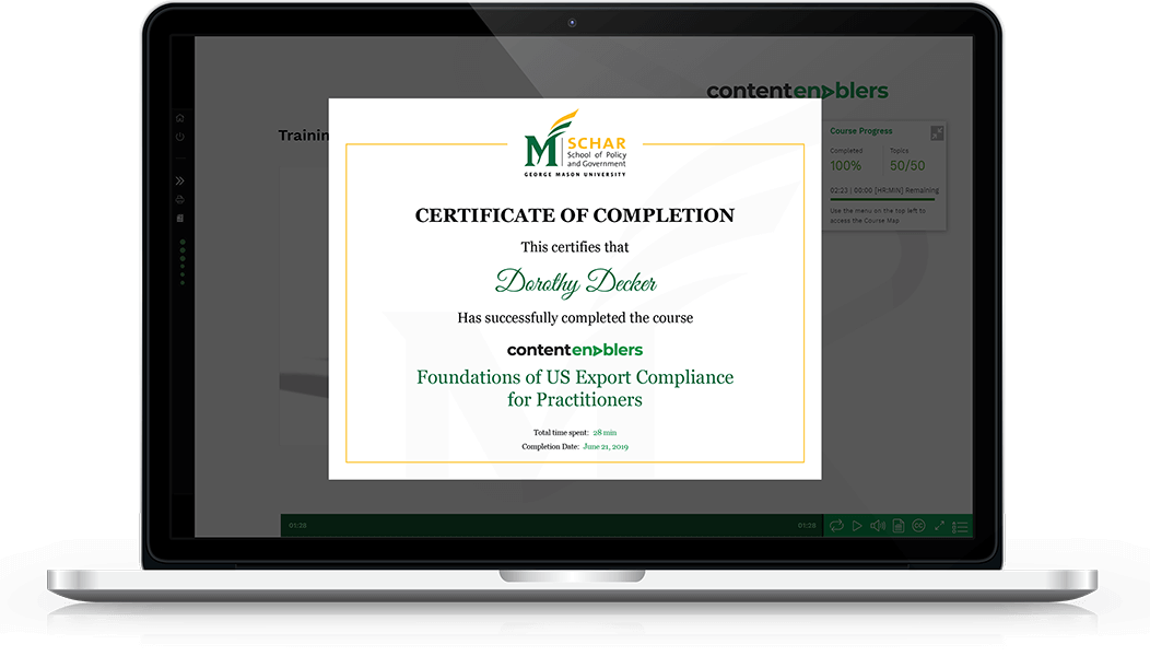 A certificate of completion offered by Content Enablers