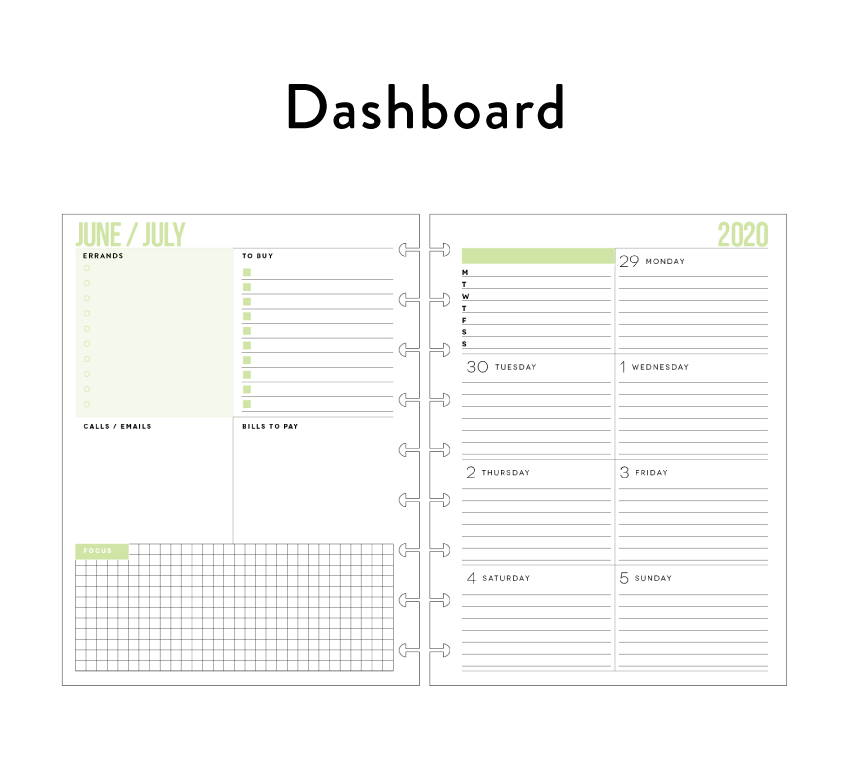 dashboard - This layout has functionality at heart. Weekly pages include space for errands and daily tasks.  Dashboard planning is perfect for the planner that likes to see appointments, to-dos, monthly lists, and goals at a glance.