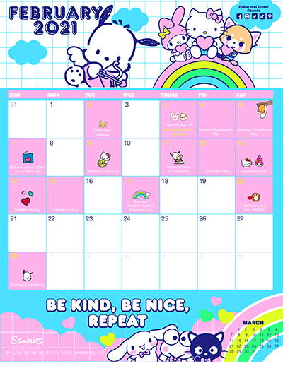 Sanrio's February Friend of the Month Calendar!