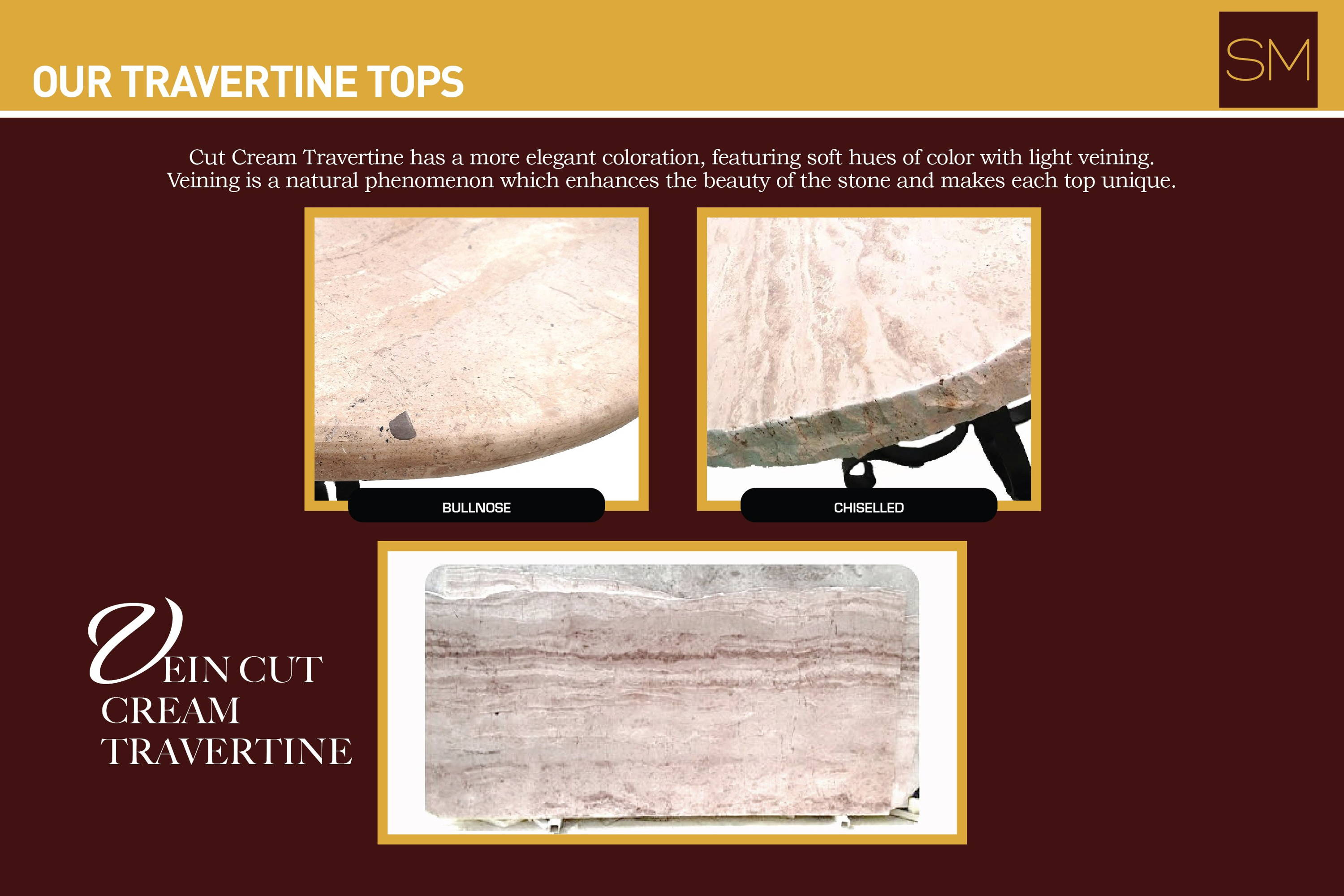 Vein cut cream travertine tops with various edge options; bullnose and hand chiselled