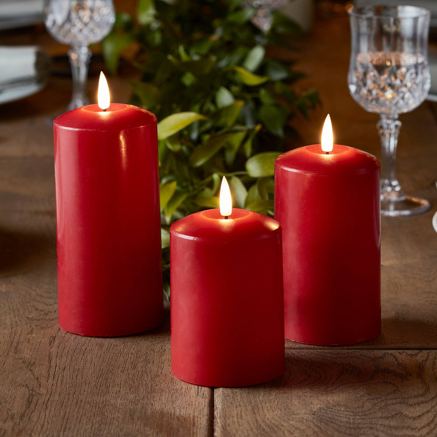TruGlow® Red LED Pillar Candle Trio