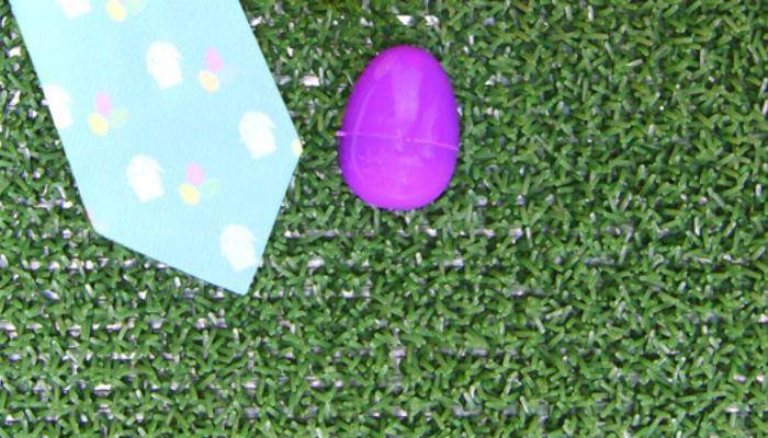 Bunny and egg Easter themed necktie and plastic Easter necktie