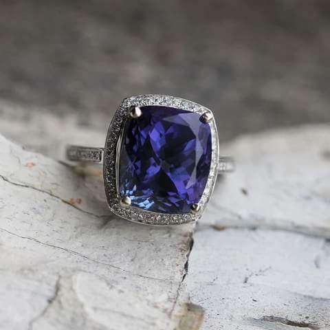 Cushion Cut Tanzanite Engagement Ring