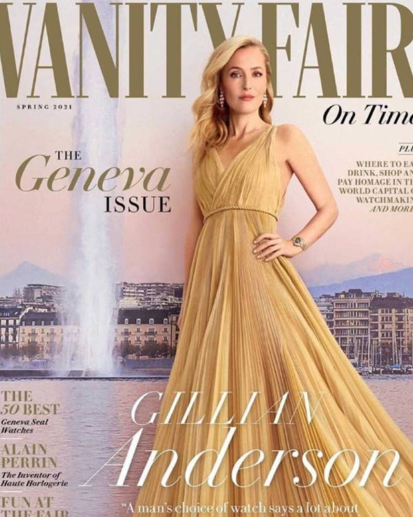 Gillian Anderson wore Galvan Silver Pandora dress in Vanity Fair