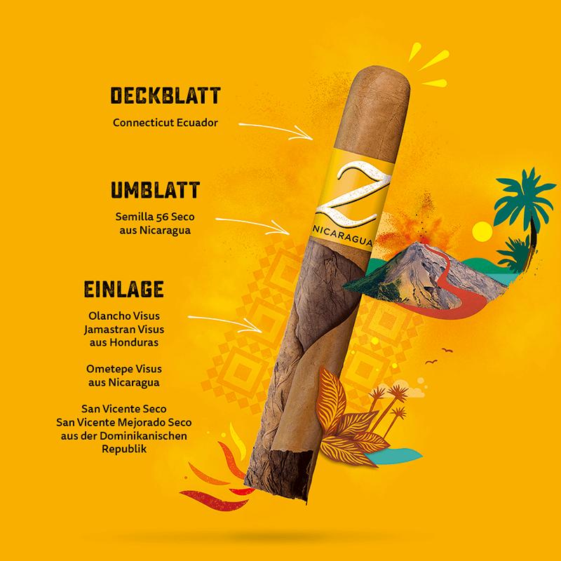Zino Nicaragua Zigarren-Aufbau der Einlage, Umblatt und Deckblatt