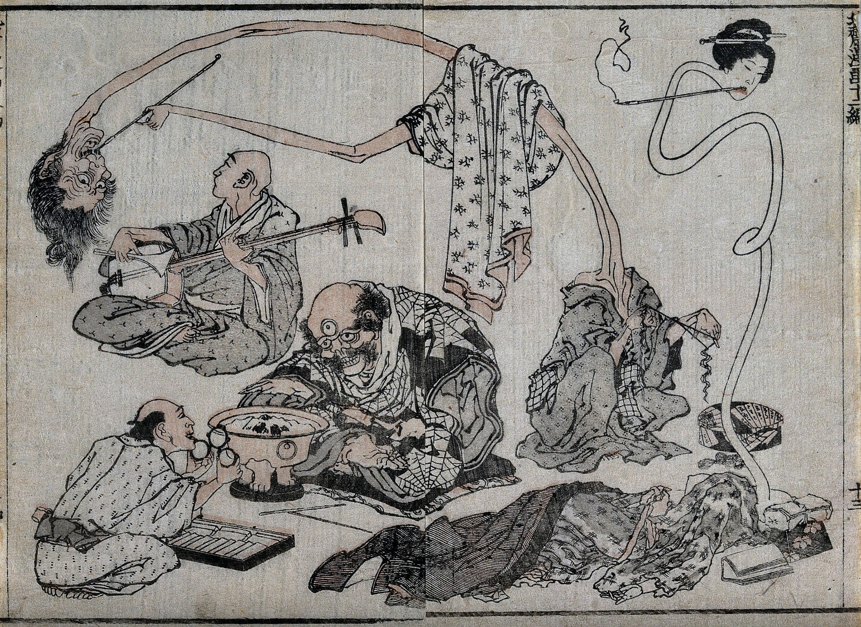 Hokusai painting of Japanese monsters and yuurei