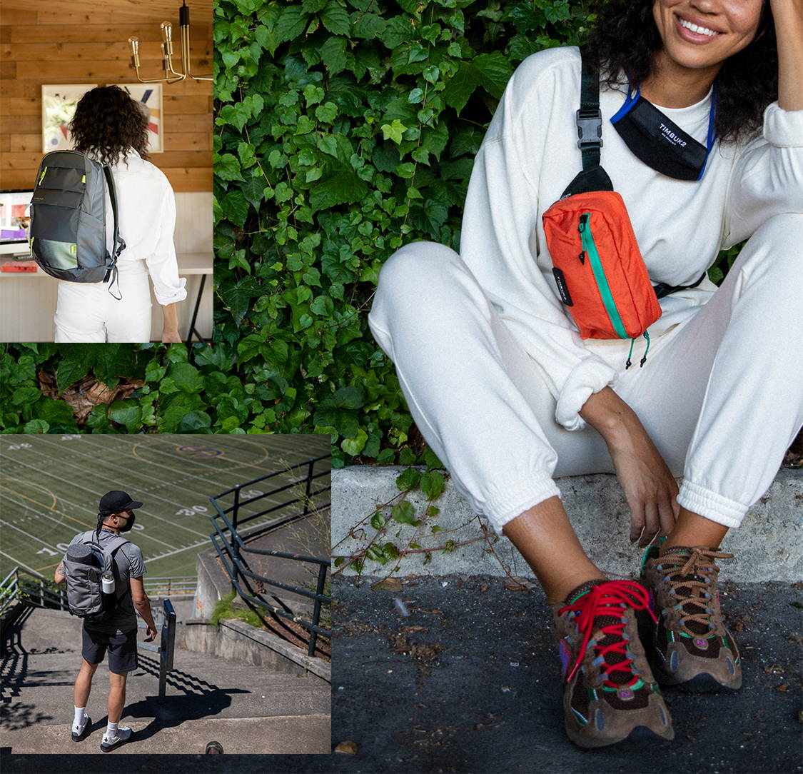 Three image collage of a woman wearing the Rascal belt bag, and Lane Pack. A man is in another image with the Authority DLX.