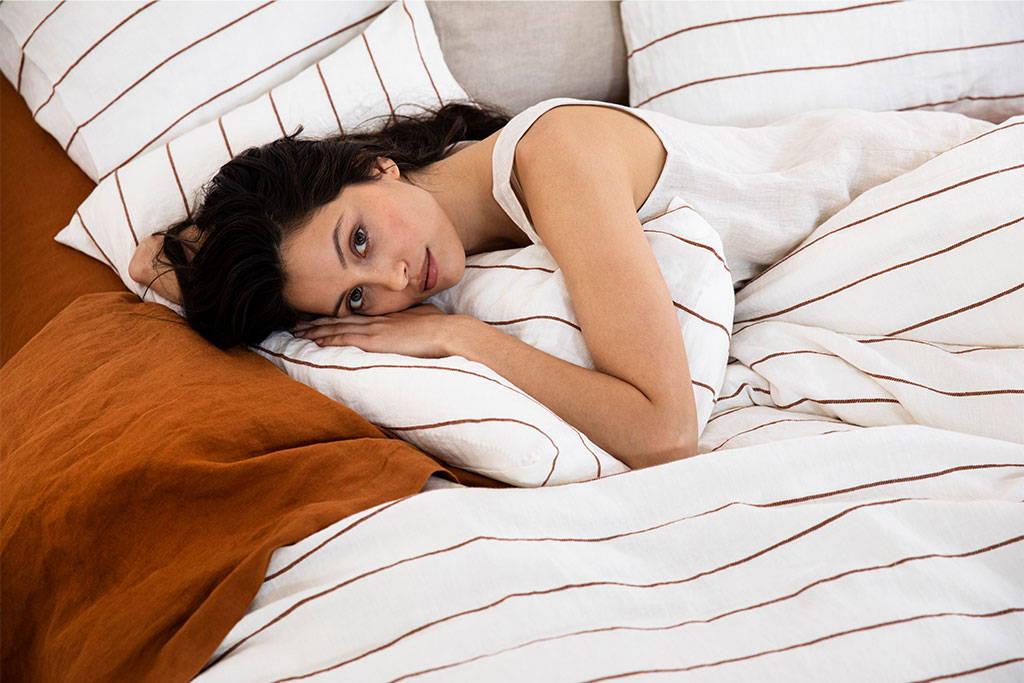 Cedar Stripe bedding with Cedar Flat Sheet