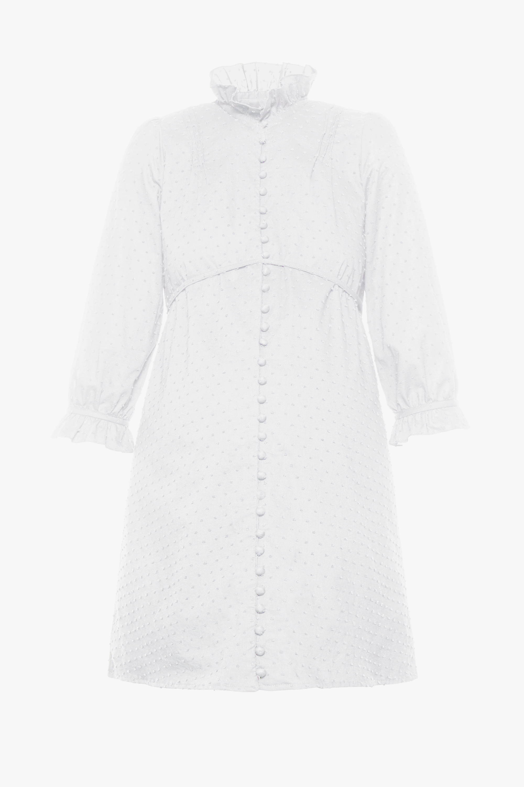 The maternity friendly Nichols dress in white dot cotton