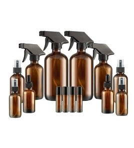 Essential Oil bottles set - Glass Spray Bottles, Dropper Bottle and Essential oil Roller Bottle