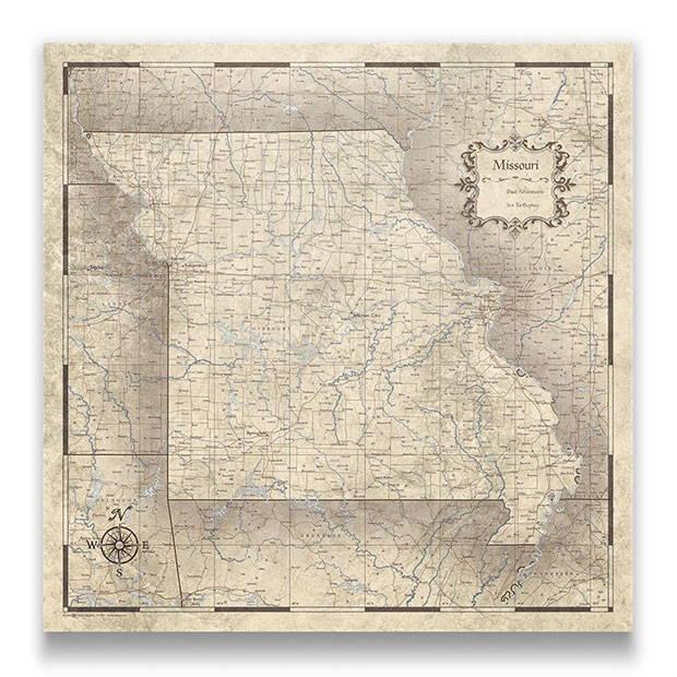 Missouri Push pin travel map rustic vintage