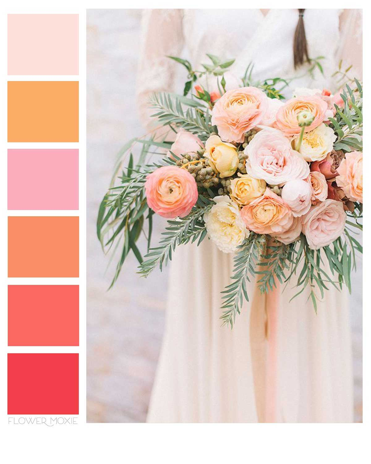 coral and peach wedding flower packages