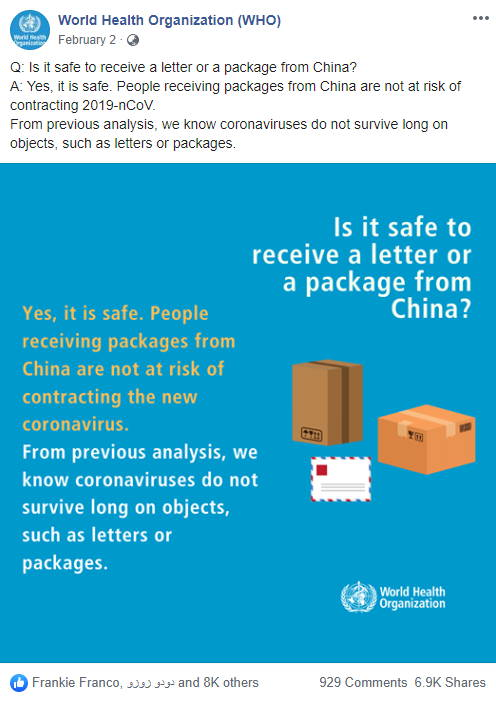 WHO says it is safe to receive packages from China