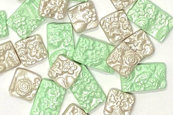Antique looking polymer clay tiles for mosaic projects