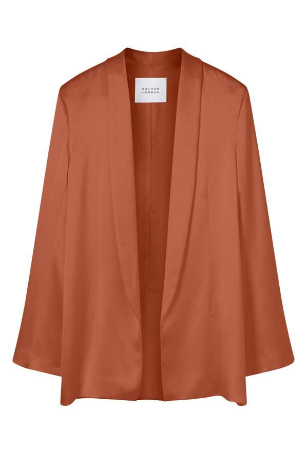 Galvan London Satin Wide Sleeves Orange Blazer