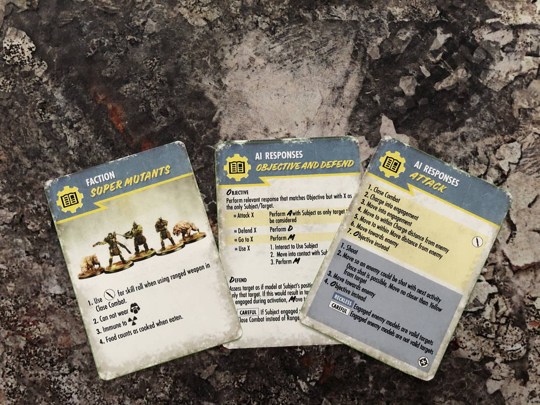 Each faction gets a reference card for their special abilities, and here's a couple of AI reference cards