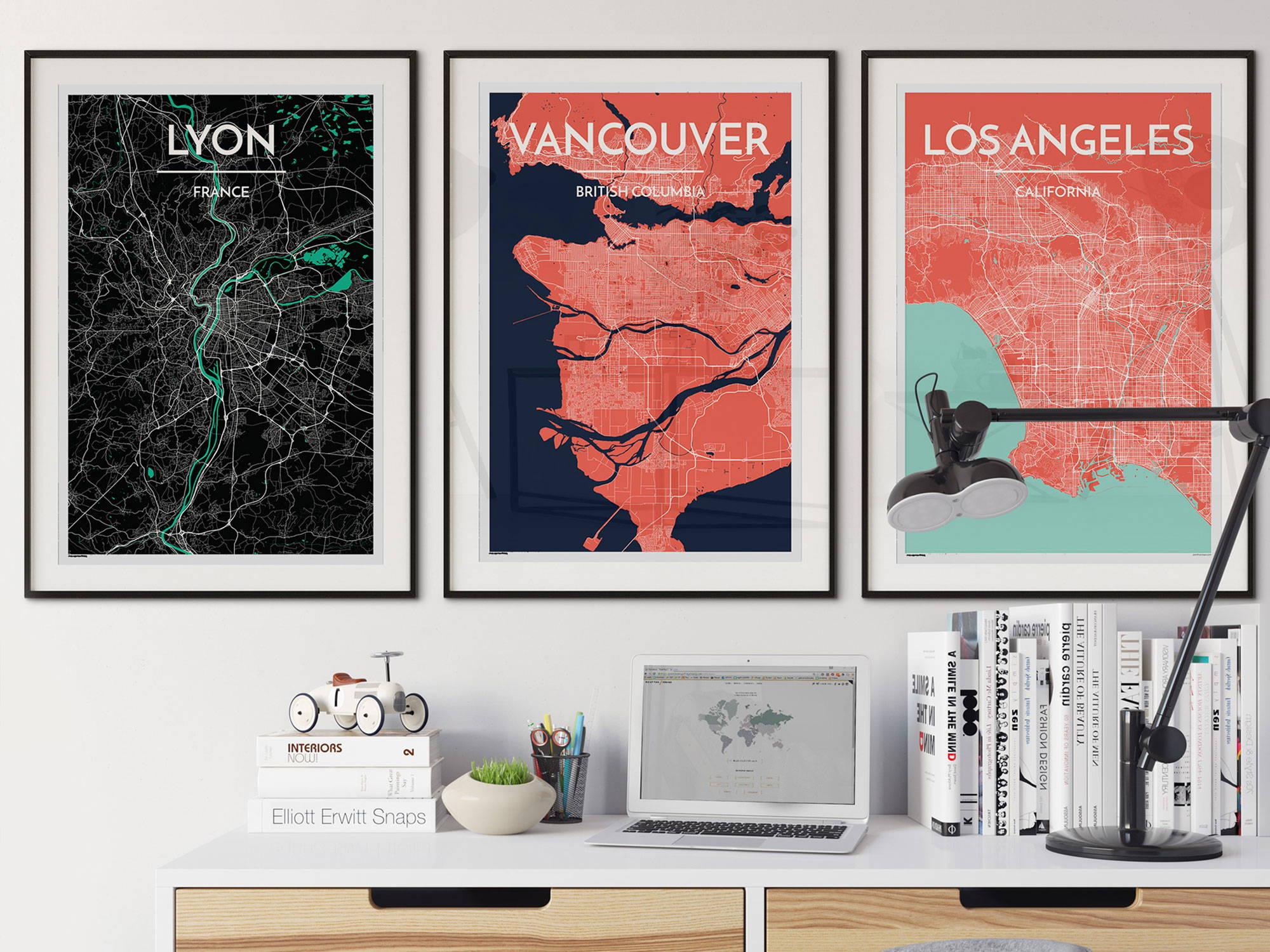 City Map Art Print of Lyon Vancouver and Los Angeles