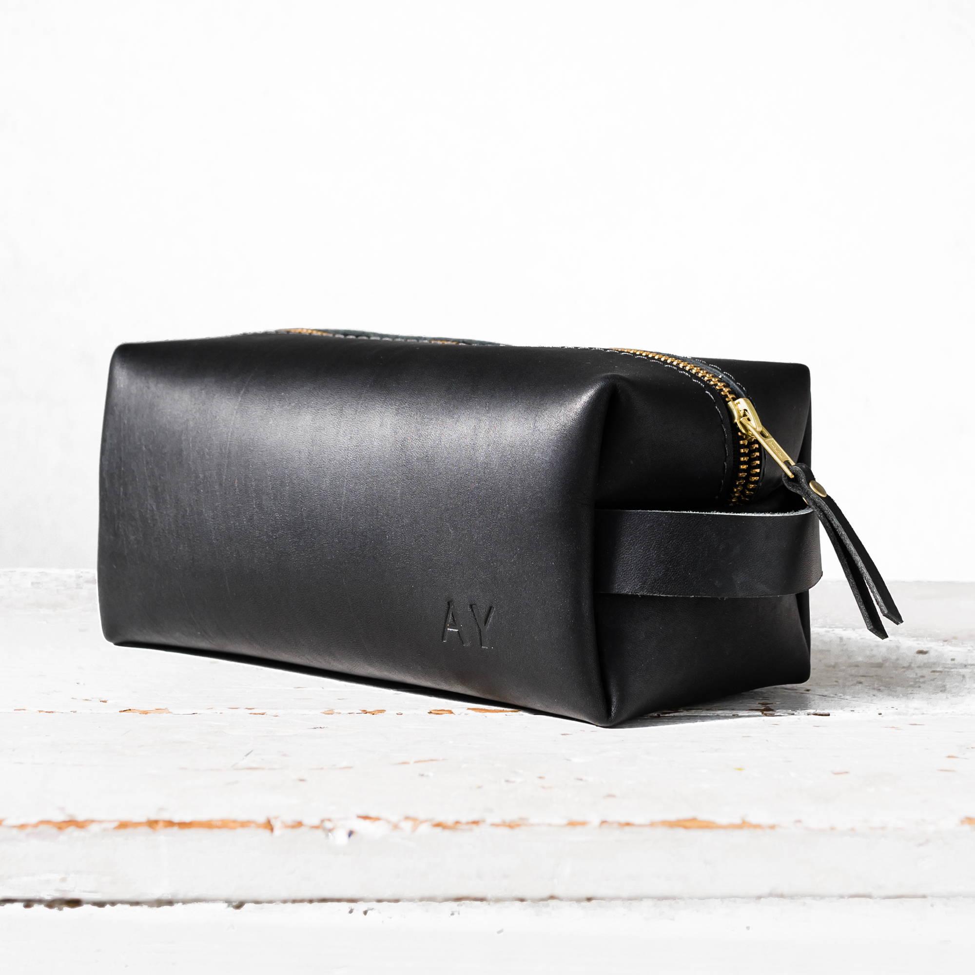 695a02fcb868 black handmade leather dopp kit by portland leather goods