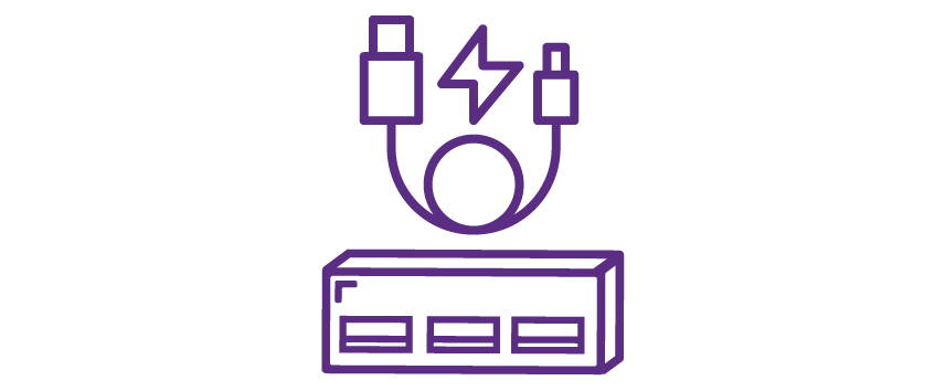 Icon depicting usb cord and ports