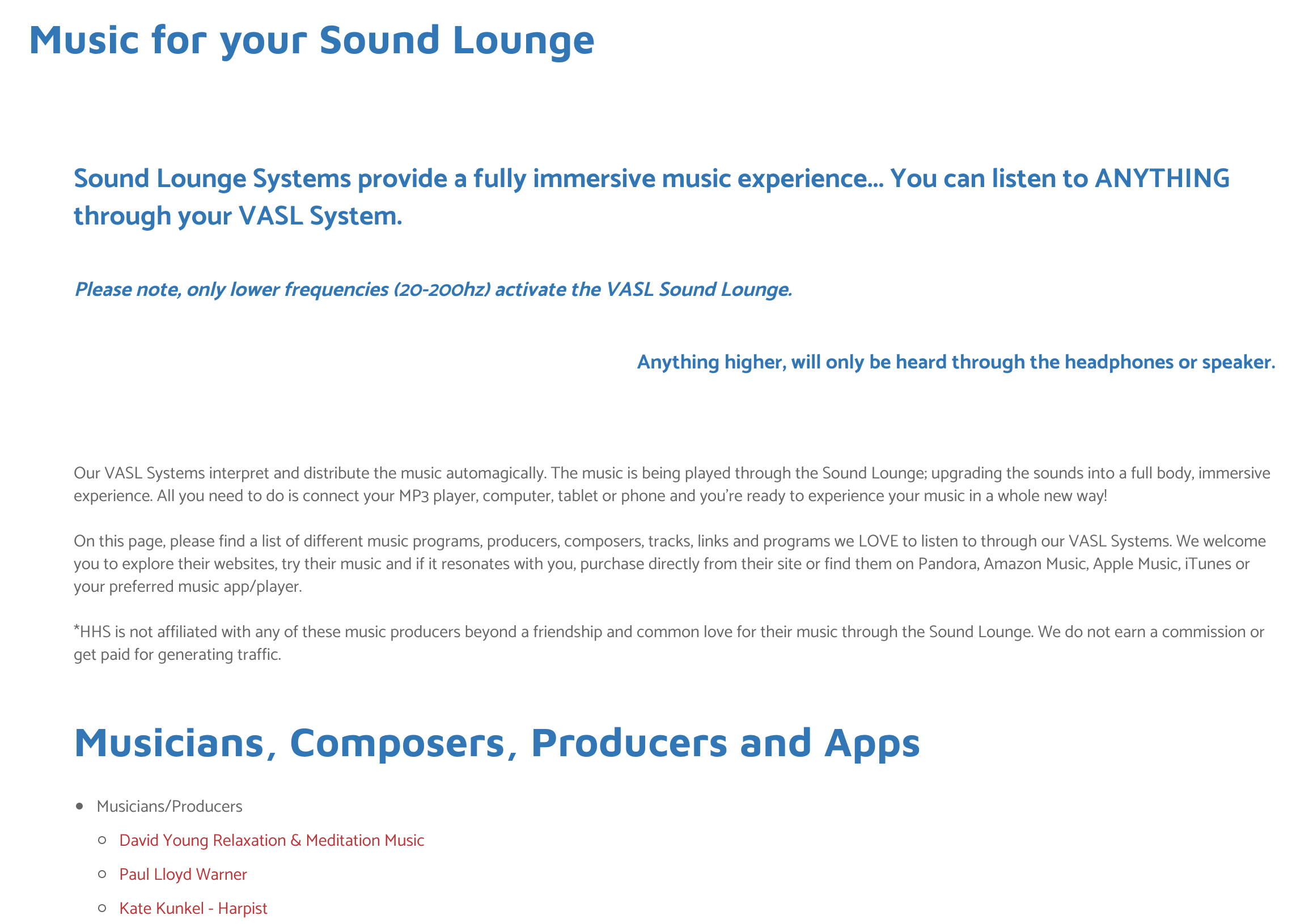 Music for your Sound Lounge