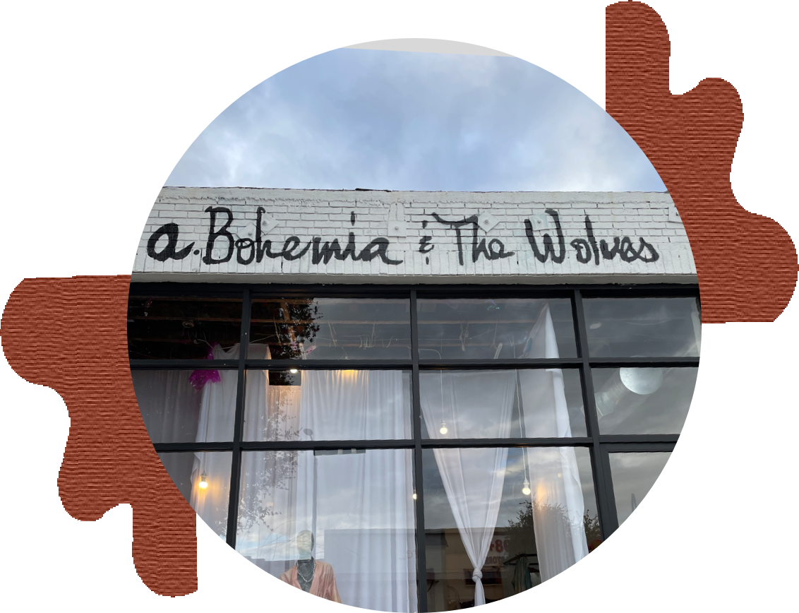 circular photo of a.bohemia highland park storefront surrounded by abstract brown blobs