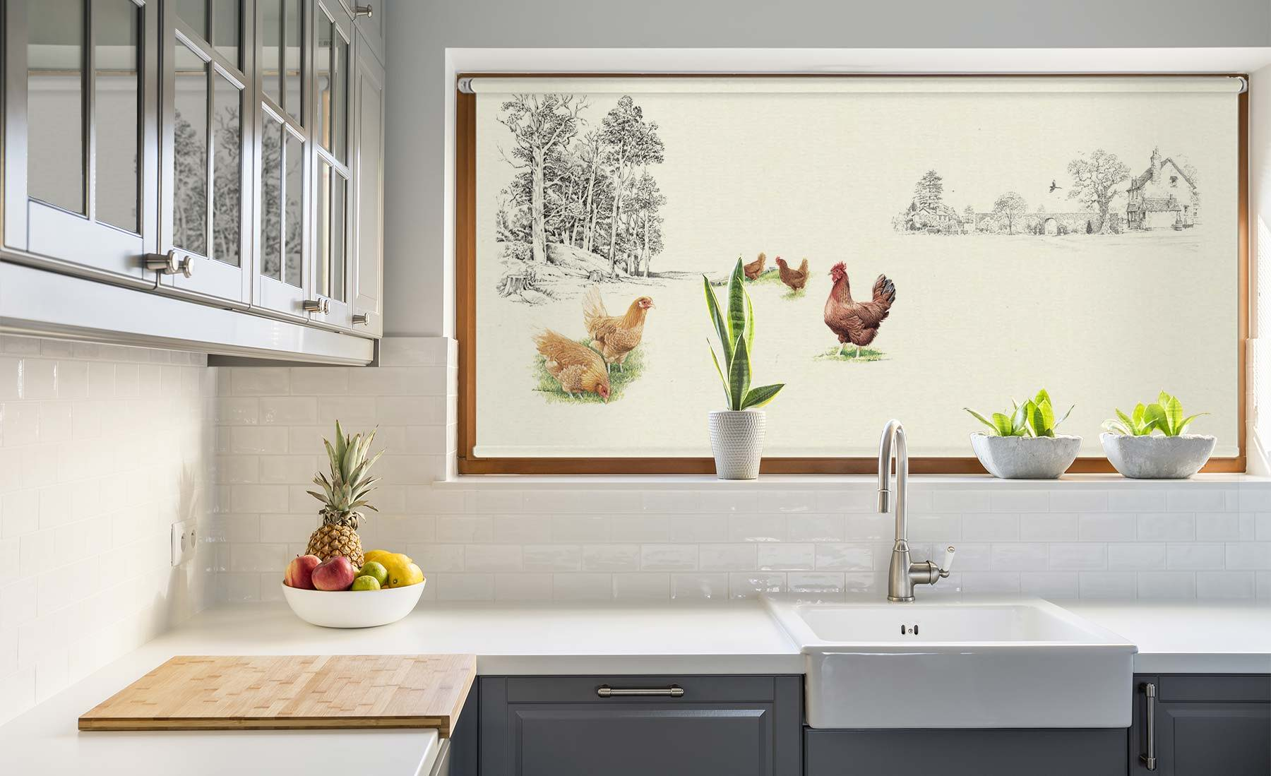 Custom-made, countryside artwork blinds, hanging in a kitchen